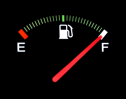 car fuel gauge on full